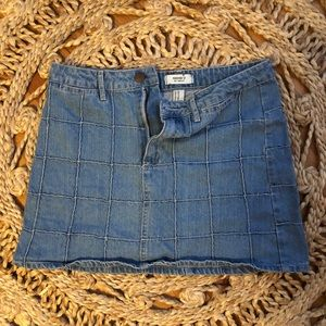 blue grid jean skirt